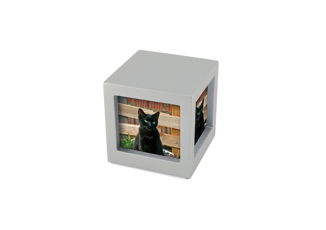 Photo Cube Urn - Silver Image